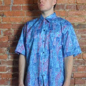 Funky Allover Abstract Art Silk Shirt - Thailand